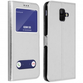 Flip Cover Doppelfenster & Standfunktion, Klappetui Samsung Galaxy A6 - Silber