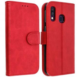 Flip Cover Geldbörse, Klappetui Kunstleder für Samsung Galaxy A40 ? Rot