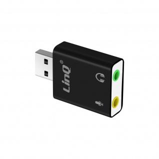 Externe Soundkarte USB 2.0 / 3.5mm Audio Mikrofon Surround 7.1 LinQ � Schwarz
