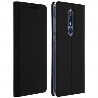 Flip Cover, Klappetui mit Kartenfach & Standfunktion für Nokia 5.1 - Schwarz