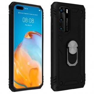 Hybrid Handyhülle mit Ring Halterung für Huawei P40 ? Schwarz