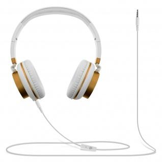 Audio Headset mit 3.5mm Klinkenstecker, GJ18 Kopfhörer - Weiß / Gold