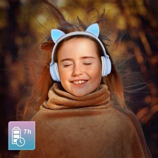 Katzenohren kabellose Bluetooth Kopfhörer, Kitty Headset ? Hellblau - Vorschau 4