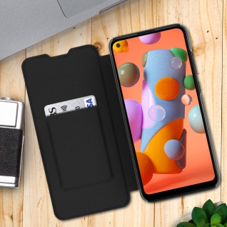 Flip Book Cover, Klappetui aus Kunstleder für Samsung Galaxy A11 - Schwarz - Vorschau 3