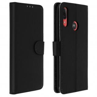Soft Touch Flip-Cover Geldbörse mit Standfunktion für Moto E6 Plus ? Schwarz