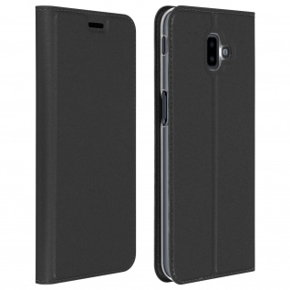 Flip Cover, Klappetui mit Kartenfach & Standfunktion für Galaxy J6 Plus Schwarz