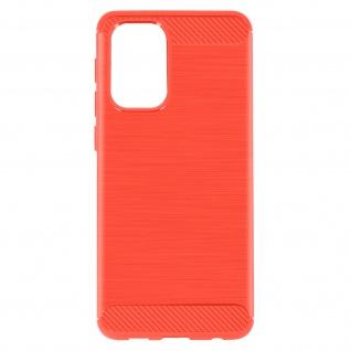 Samsung Galaxy A32 Schutzhülle mit Aluminium und Carbon Design ? Rot