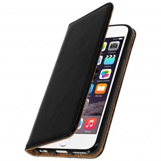 iPhone 6/6S Flip-Cover aus Echtleder mit Standfunktion & Kartenfach - Schwarz