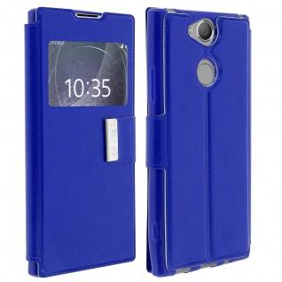 Flip Cover mit Sichtfenster & Standfunktion für Sony Xperia XA2 - Blau