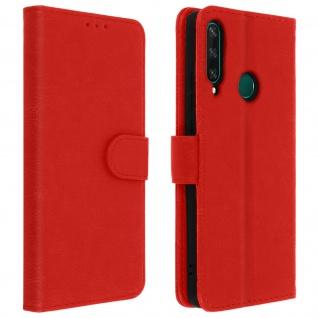 Flip Cover Geldbörse, Klappetui Kunstleder für Huawei Y6p ? Rot