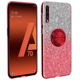 Glitter Silikonhülle mit Ring Halterung für Samsung Galaxy A70 - Rot