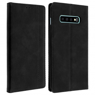 Vintage Hülle, Flip wallet Cover mit Standfunktion Samsung Galaxy S10 â€? Schwarz