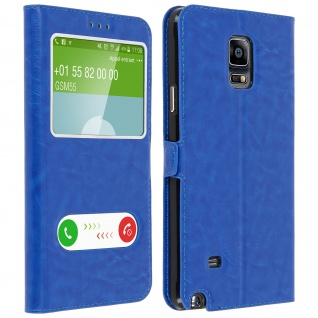 Flip Cover Doppelfenster & Standfunktion, Klappetui für Galaxy Note 4 - Blau