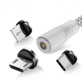 3-in-1-Magnetkabel, 1.2m USB-C / Micro-USB / Lightning Kabel � Silber