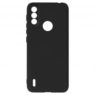 Halbsteife Silikon Handyhülle für Motorola Moto E7i Power, Soft Touch ? Schwarz