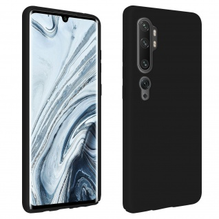 Halbsteife Silikon Hülle Xiaomi Mi Note 10 / Note 10 Pro, Soft Touch - Schwarz