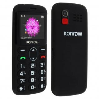 """Senior Phone 2"""" Dual Sim SOS-Taste 1400mAh Akkulaufzeit 4h Konrow - Schwarz"""