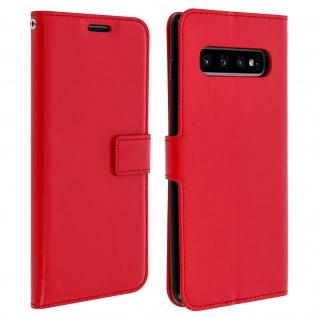 Flip Stand Cover Brieftasche & Standfunktion für Samsung Galaxy S10 Plus - Rot