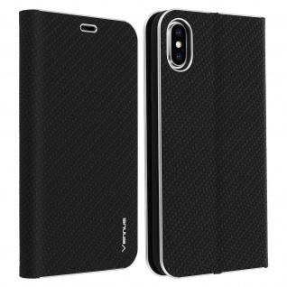 Apple iPhone X, iPhone XS Klappetui, Cover mit Carbon Design & Ständer - Schwarz
