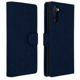 Flip Cover Geldbörse, Klappetui Kunstleder Samsung Galaxy Note 10 - Dunkelblau