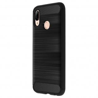 Huawei P20 Lite Schutzhülle aus Silikon mit Carbon und Aluminium-Look - Schwarz