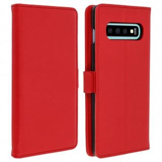 DZgogo Klappetui mit Kartenfach & Standfunktion Samsung Galaxy S10 Plus Rot