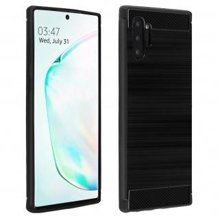 Samsung Galaxy Note 10 Plus Schutzhülle mit Carbon/Aluminium Look - Schwarz