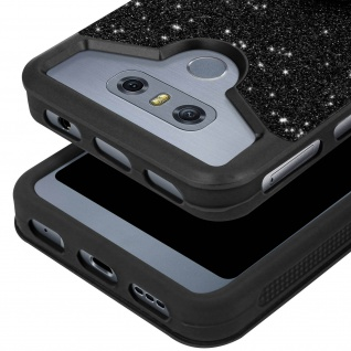 Glitter Handyhülle mit Ring Halterung für 5.0 - 5.3 Zoll Smartphones - Schwarz