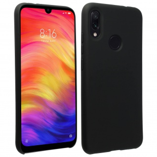 Halbsteife Silikon Handyhülle Xiaomi Redmi Note 7, Soft Touch - Schwarz