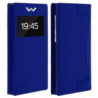 Universal Klappetui, Hülle mit Sichtfenster für Smartphones Größe L - Blau