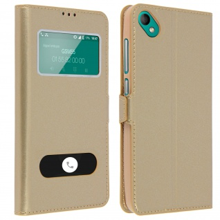 Wiko Sunny 2 Plus Flip Cover mit Doppelfenster & Standfunktion - Gold