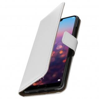 Huawei P20 Cover aus Echtleder mit Standfunktion & Kartenfach - Weiß