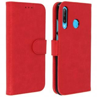 Flip Cover Geldbörse, Klappetui Kunstleder für Huawei P30 Lite ? Rot