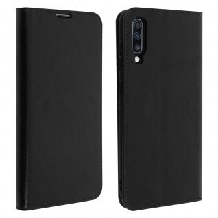 Business Leder Cover, Schutzhülle mit Geldbörse Samsung Galaxy A70 - Schwarz