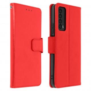 Flip Stand Case Brieftasche & Standfunktion für Huawei P Smart 2021 ? Rot