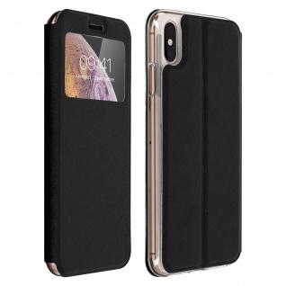 Apple iPhone XS Max Flip Cover Sichtfenster & Kartenfach, mit Gelhülle - Schwarz