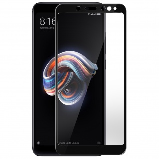5D Full Cover Displayschutzfolie aus Glas für Xiaomi Redmi Note 5 - Rand Schwarz