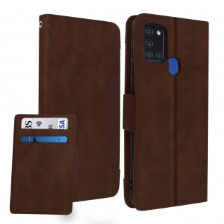 Samsung Galaxy A21s Klappetui mit Geldbörse + abnehmbares Kartenfach ? Braun