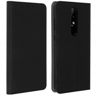 Nokia 5.1 Plus Flip Cover, Klappetui mit Kartenfächern & Standfunktion - Schwarz