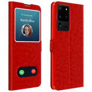 Samsung Galaxy S20 Ultra Flip Cover Doppelfenster & Standfunktion - Rot
