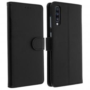 Flip Cover Geldbörse, Klappetui Kunstleder für Samsung Galaxy A70 ? Schwarz