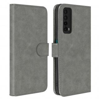 Flip Cover Geldbörse, Etui Kunstleder für Huawei P smart 2021 ? Grau