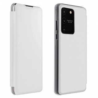 Flip Book Cover, Klappetui aus Kunstleder für Samsung Galaxy S10 Lite - Weiß
