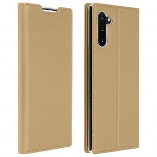 Flip Cover, Klappetui mit Kartenfach & Standfunktion Samsung Galaxy Note 10 Gold