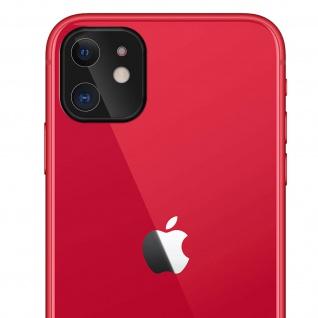 Apple iPhone 11 Rückkamera Schutzfolie aus 9H Panzerglas mit schwarzem Rand.