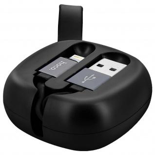Ausziehbares USB- /Lightning, Aufladen & Sync. Rollkabel, schwarz - Hoco