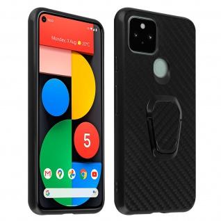 Google Pixel 5 Hybrid Schutzhülle mit Carbon Finish und Ring-Halterung ? Schwarz