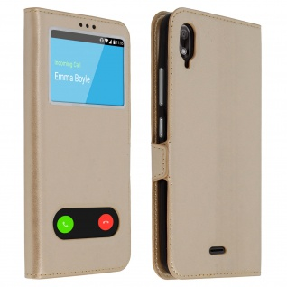 Wiko View 2 Go Flip Cover mit Doppelfenster & Standfunktion - Gold