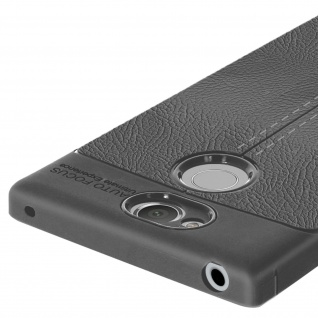 Silikon Schutzhülle aus Kunstleder stoß- kratzfest für Sony Xperia XA2 - Grau - Vorschau 4