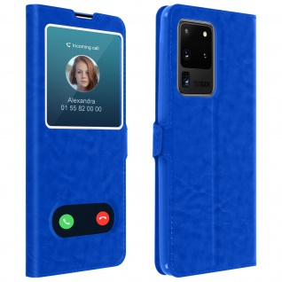 Samsung Galaxy S20 Ultra Flip Cover Doppelfenster & Standfunktion - Blau